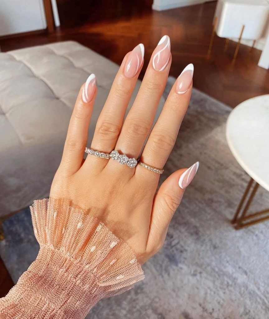Ideal Nude And White Nails Png
